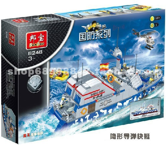 Model building kits compatible with lego city military Stealth missile boats 834 3D blocks Educational toys hobbies for children