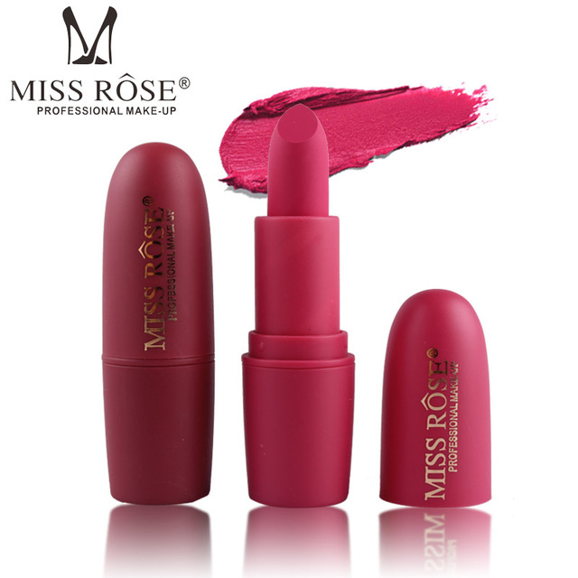 New MISS ROSE Lipstick Matte Waterproof Velvet Lip Stick 18 Colors Sexy Red Brown Pigments Makeup Matte Lipsticks Beauty Lips 4