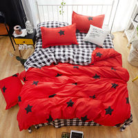 Bedding Sets 3/4pcs Geometric Pattern Bed Linings Duvet Cover Bed Sheet Pillowcases Cover Set black red star design