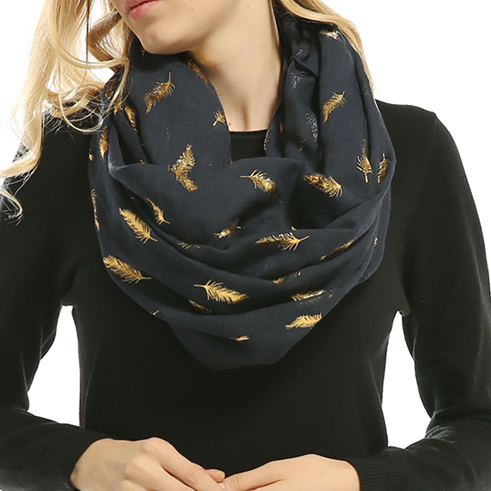 Ladies's   Scarf   Elegant Warm   Wrap   Circle Collar Scarve Lady Women Soft Bronzing Feather Print Neck   Scarf     Wrap     Scarves   Muffler