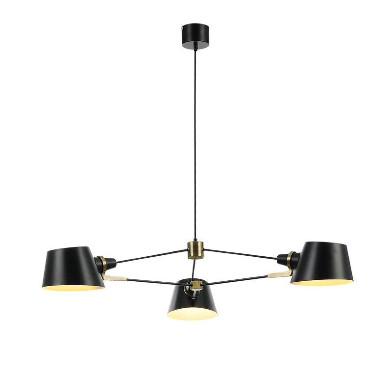Nordique salon lustre moderne simple 3/6 PCS E27 ampoule noir salle à manger lumières américain café robe salle créative lampe à LED