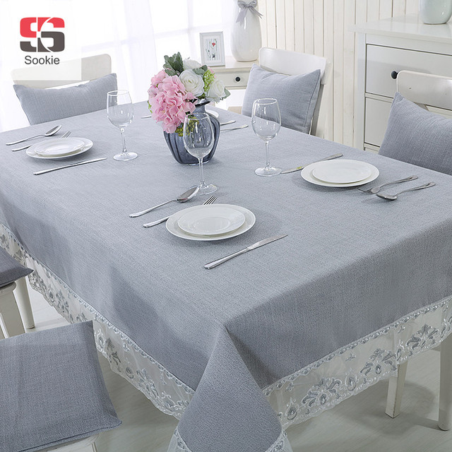 Rectangle Table Cloth Double Layer Organza Lace Hem Solid Cotton Line Blending Covers Gray Tablecloth
