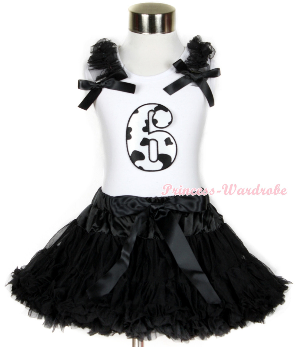 Halloween White Tank Top with 6th Milk Cow Birthday Number Print with Black Ruffles & Black Bow & Black Pettiskirt MAMG686 white tank top with 5th birthday number minnie with minnie dots ruffles