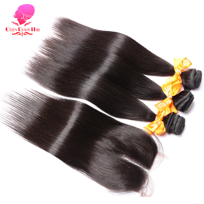 QUEEN BEAUTY 3 Bundles and Closure Natural Color Remy Human Hair Weave Bundles Deals Malaysian Straight