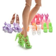 Hot Sale 20Pcs=10Pairs Doll Shoes Bandage Bow High Heel Sandals for Barbies Toys Fixed Styles Color Random