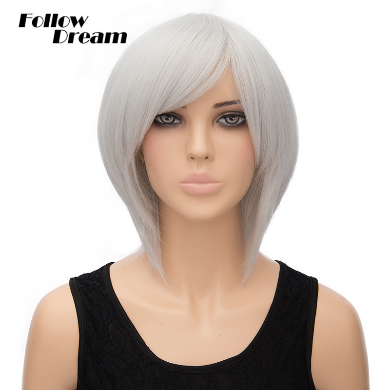 11'' 30cm Sliver White Straight Short Synthetic Wigs 2016 New None Lace Handmade Natural Hair - Fashion Cosplay store