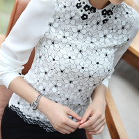 New Arrival 2017 Fall Korean Style Women Chiffon Blouse White Slim Top For Office Lady Floral
