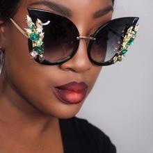 bbf4acf1de2 Big Cat Eye Sunglasses Women Oversized Green Crystal Diamond 45263 CCSPACE  Brand Glasses Designer Fashion Female