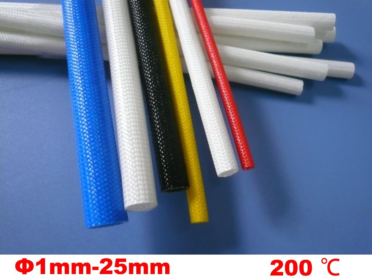 4M 12mm Black White 200 Deg C High Temperature off-Self Casing Pipe Silicone Resin Braided Glass Fiber Sleeve Fiberglass Tube