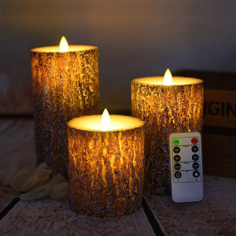 цена на 3pcs LED Candle Lights Battery Powered Candle Remote Tree Light Smokeless Party Easter LED Electronic Candles Lighting