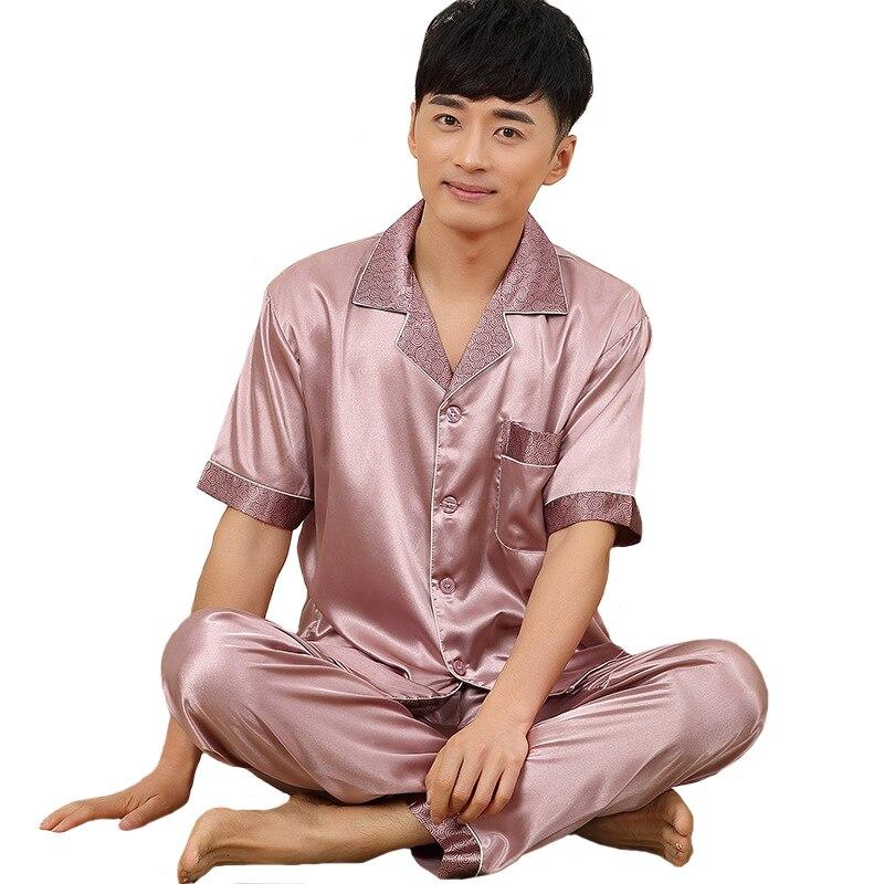 2019 Summer Men Short Sleeve Shirt+Pants Sleep Set Plus Size 3XL Male Satin 2PCS Sleepwear Solid Pajamas Suit Casual Home Wear