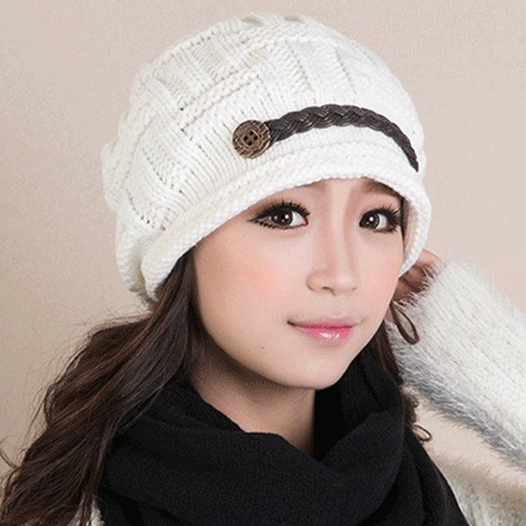 2017 New Women Winter Spring Knitting Wool Warm Cap Cute Two Buttons Hats Adult Casual Skullies & Beanies 6 Colors the new children s cubs hat qiu dong with cartoon animals knitting wool cap and pile