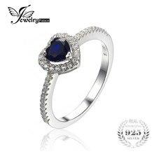Jewelrypalace corazón del océano 0.6ct creado azul zafiro 925 anillo de plata fina de regalo de la joyería para las mujeres
