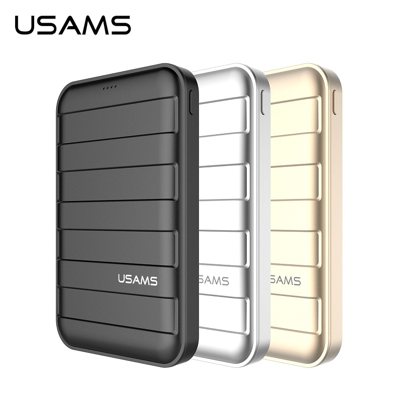 imágenes para USAMS 10000 mah Banco de la energía 5 V 2A Dual USB Powerbank Cargador Portátil de Emergencia para el iphone Samsung de Carga de Salida