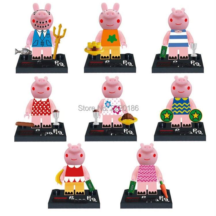 8pcs Pink Pig Narrator Danny Suzy Pedro Mini Block Action