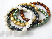 FREE SHIPPING>>>@@ > 09542 Details about White Black Green Coffee Champagne Baroque Freshwater pearl Stretch Bracelets