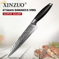 XINZUO Najnowszy 8 cal tasak nóż 67 warstwy Japoński Damaszek nóż kuchenny nóż G10 uchwyt kuchenne gotowanie noże sashimi