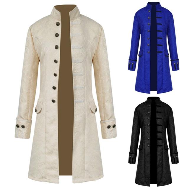 Steampunk Retro Men Gothic Brocade Jacket Gothic Vintage Victorian Coat 2018  Fashion Halloween Costume Overcoat Male 5b32f523cf