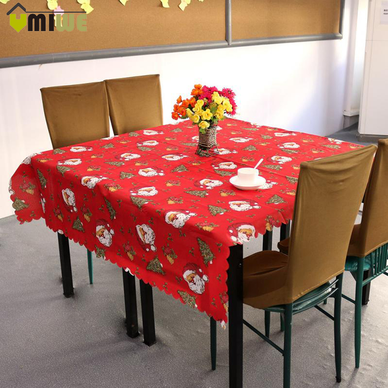 New Year Christmas Tablecloth Ribbons Holly Leaves Printed