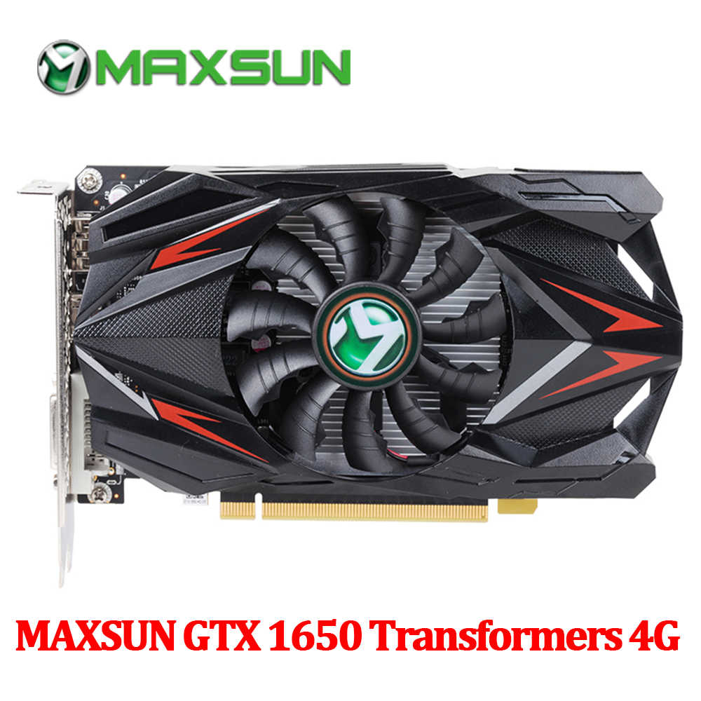 MAXSUN GTX 1650 4G بطاقة الرسومات 128bit GDDR5 NVIDIA 8000 MHz 1485 MHz HDMI + DVI + موانئ دبي 12nm 896 وحدات 75 W بطاقة الفيديو للألعاب
