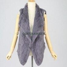 Real Fur Vest Winter Sleeveless Coat Thick Knit Rabbit