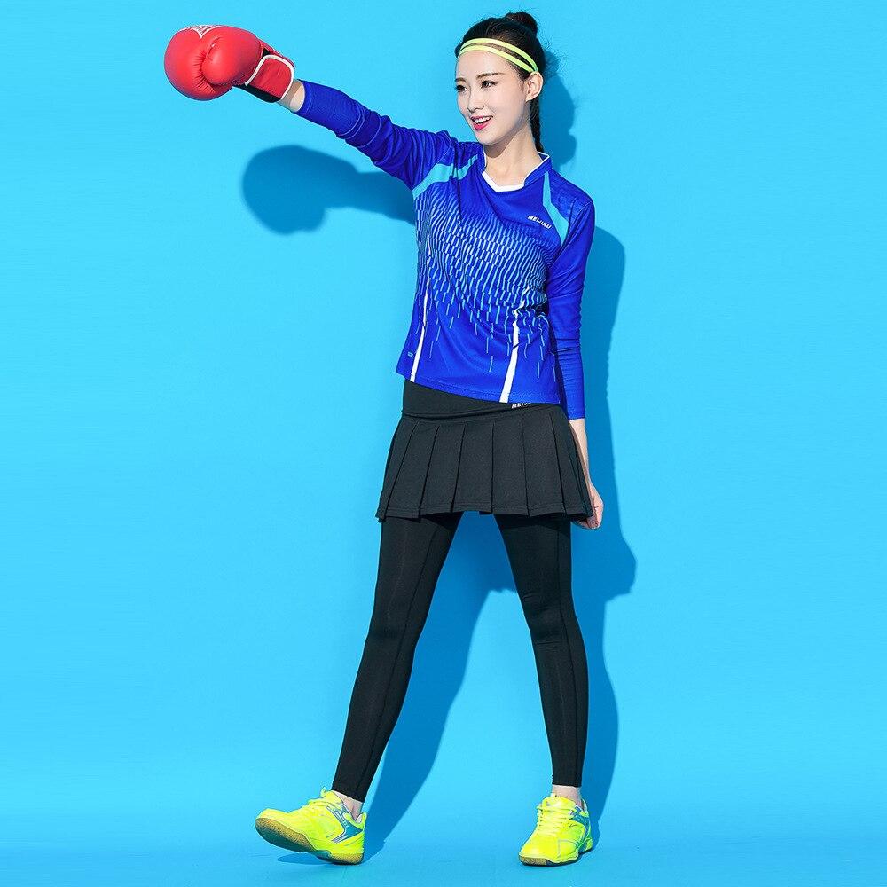 Terno de Esportes Roupas de Tênis Calções de Secagem Roupas de Treino de Manga Badminton Feminino Terno Rápida Longa