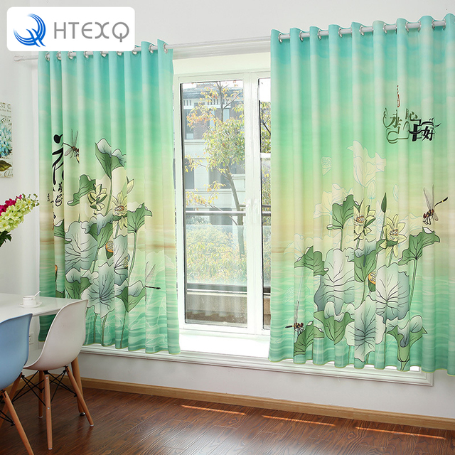 Romantic lotus Floral Chinese style  Door Window Curtain for bedroom Drape Panel Scarf Valances