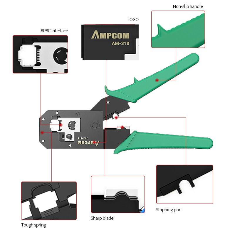 AMPCOM Серия Green RJ11 RJ45 обжимной инструмент обжимные плоскогубцы сетевой кабель щипцы для 6P 8P RJ-11/RJ-12