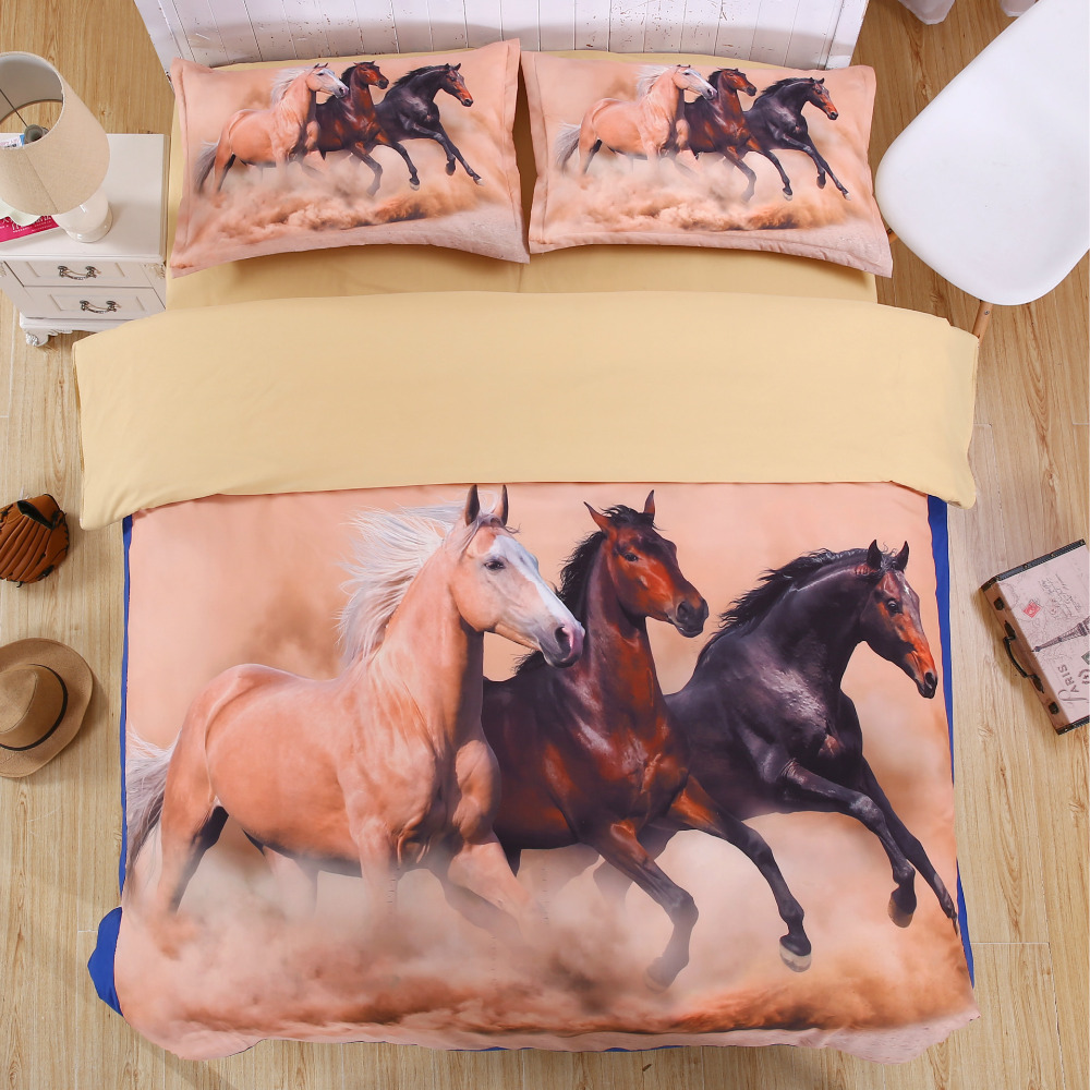 Animal Print Horse Bedding Set Twin Full Queen King Size Duvet Cover Bed Sheets Pillowcase In A Bag 4pcs Polyester Fabric Sets From Home