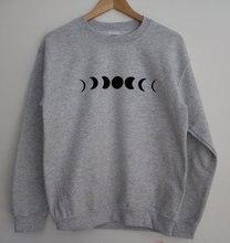 цены на Moon Phase Printed Grey Crewneck Sweatshirt Cozy Jumper Funny Fashion Unique sweatshirt-E001  в интернет-магазинах