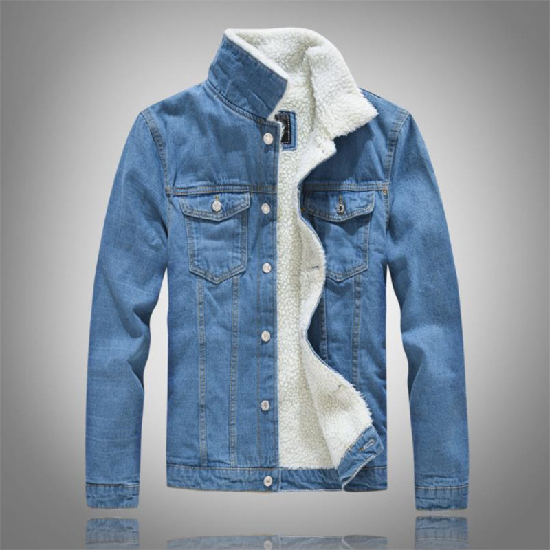 TUOLUNIU Winter men's casual denim jacket plus velvet warm cotton coat jeans