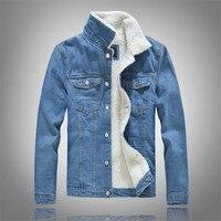 Winter men's casual denim jacket plus velvet warm cotton coat fashion coat jeans solid color Lapel top