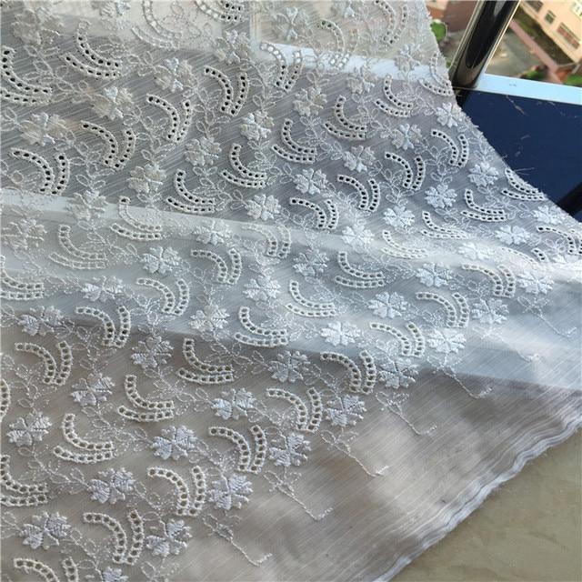Free Shipping Black And White Chiffon Rayon Embroidery Lace Fabric