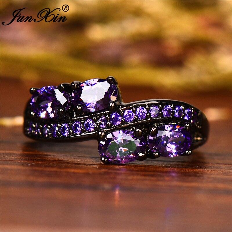 10 farben Boho Weibliche Mädchen Lila Oval Ring Mode Schwarz Gold Schmuck Vintage Grün Blau Rot Rosa Hochzeit Ringe Für frauen