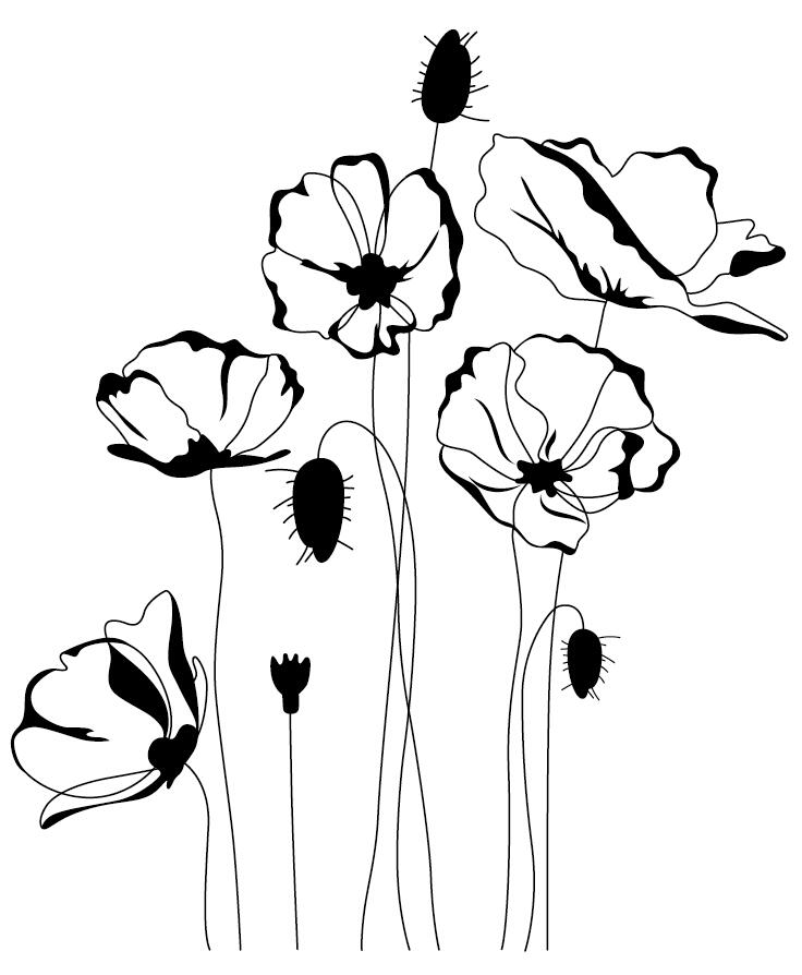 Flowers Poppy Rubber Clear Stamp/Seal For DIY Scrapbooking/Photo Album Decorative Card Making Clear Stamps