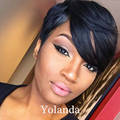 Brazilian glueless short human cut hair wigs with bangs full lace 130 density wigs short bob lace front wig for black women