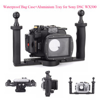 40m/130ft Underwater Diving Camera Housing Case for Sony DSC WX500 + Aluminium Tray,Waterproof Bag Case for Sony DSC WX500