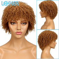 Lekker Blonde Color Short Afro Kinky Curly Wigs Light Brown 100% Human Hair Kinky Curly Wigs For Black Women #27 #4 Two Colors