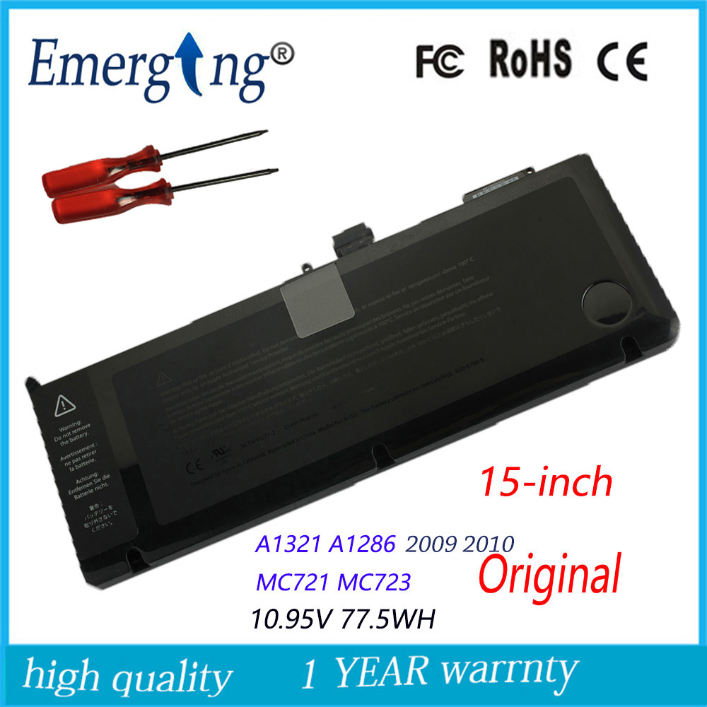 Ny 10.95v 77.5Wh Original Laptop Batteri til APPLE A1321 MC371 15Inch A1286 Mid 2009 2010version 372 985 75wy2 Med Værktøj