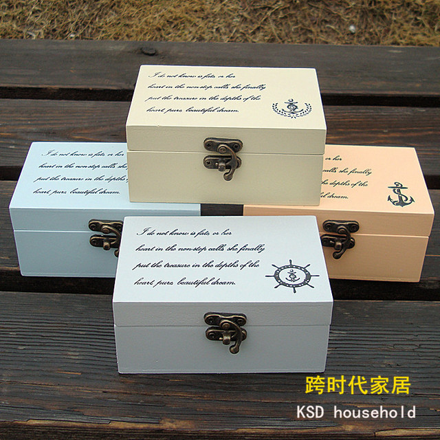 22a391153 Mediterranean Home Decoration Retro Gallery small wooden jewelry box  jewelry box small storage box