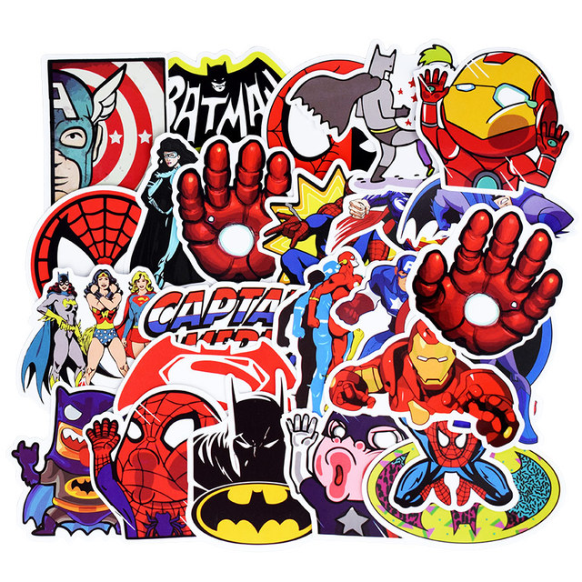 50 PCS Mixed Funny Anime Super Hero Stickers For Laptop Skateboard Etc. 1
