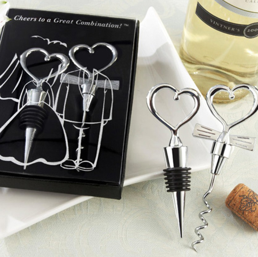 Love Heart Corkscrew Wine Bottle Opener + Wine Stopper Wedding Gift Favors Bottle Opener Set Wedding Decoaration