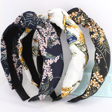 3pcs/lot Mimosa Knot Hair Bands For Girls Twisted Turban Leaves With Bees Floral Print Headbands Accessories Women