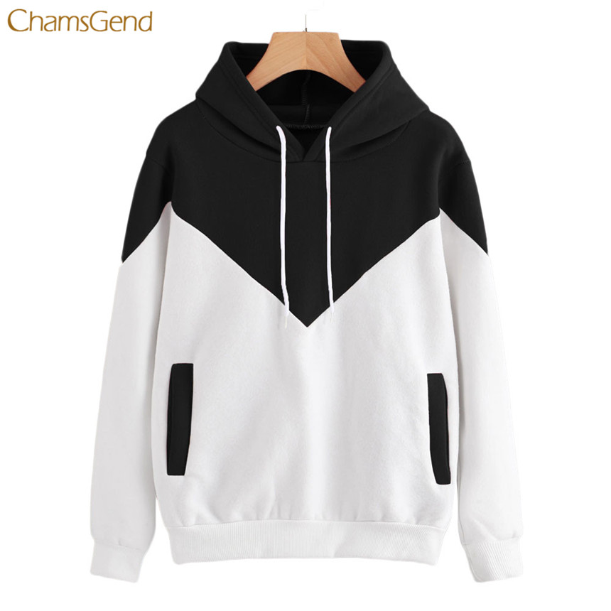 CHAMSGEND 2018 Fashion Women Hoodies Patchwork Hooded Long Sleeve Casual Style Pockets Cotton Female Pullovers White and Black