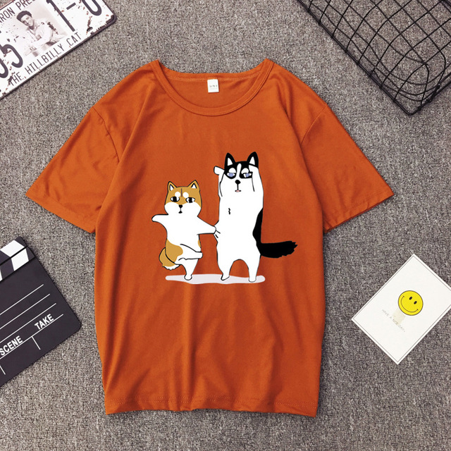 Women's Casual Loose Dog Patterned T-Shirt