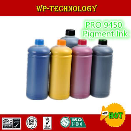 ФОТО 1L*5 pcs  Pigment ink suit for Epson Pro 9450 , water proof ink suit for T6121-T6124 T6128 , 5L Total ,High quality Ink