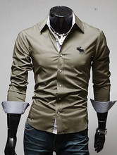 Brand New Men s Buck Embroidery Casual Shirt Social Solid Color Shirt Full Sleeve Turn Down