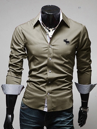 Brand New font b Men s b font Buck Embroidery Casual font b Shirt b font