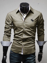 Brand New Men's Buck Embroidery Casual Shirt Social Solid Color Shirt Full Sleeve Turn Down Collar
