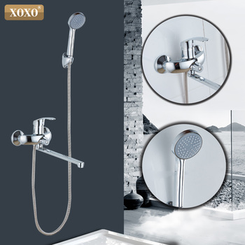 XOXO 180 stopni obrotowy prysznic wanna prysznic kran mosiądzu prysznic mixer główna Łazienka prysznic kran 9990B-1 tanie i dobre opinie Galwaniczne Zimnej i Ciepłej Współczesna Pojedynczy uchwyt podwójna kontrola ceramic
